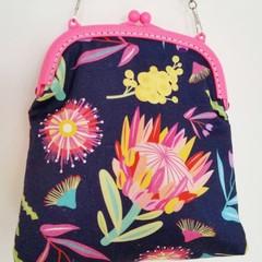 Navy Australian Florals Handbag