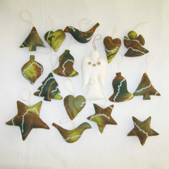 15 Felted Christmas Decorations And Angel Complimentary Christmas Gift