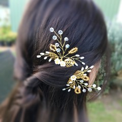 Gold Hair pins-set of 2 (RicePearl Tree)