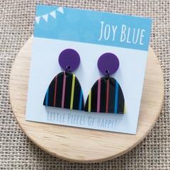 Purple / stripe earrings