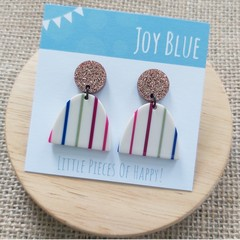 Bronze glitter/ stripe earrings
