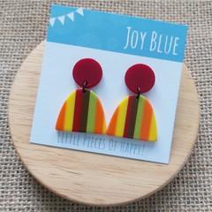 Burgandy  / stripe earrings