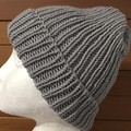 Grey merino beanie, grey beanie, ladies or men's grey winter beanie knitted