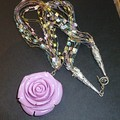 Carved Tridacna and metallic yarn necklace