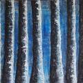 Tree Line By The Blue Lagoon original acrylic painting 90cm (W) x 60cm (H)