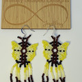 Red, White and Blue Huichol Butterfly Beaded Earrings