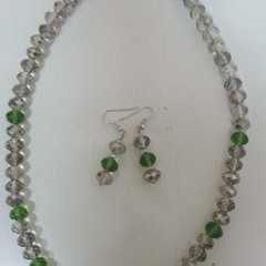 NECKLACE AND EARRINGS SET - Clear, smokey and green cut glass