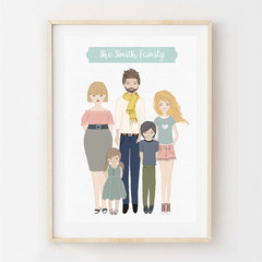 Custom listing for Erin - Personalised Family Portrait 4 persons.