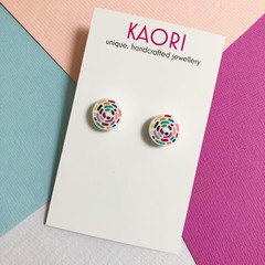 Polymer clay earrings, studs In rainbow swirl