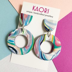 Polymer clay earrings, statement earrings in marbled coloursplash