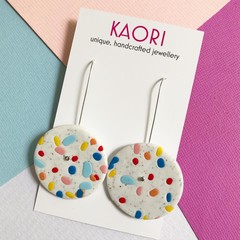 Polymer clay earrings, statement earrings in sky blue coloursplash