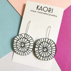 Polymer clay earrings, statement earrings in Monochrome