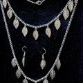 NECKLACE BRACELET AND EARRINGS SET - chained set with leaf charms silver colour