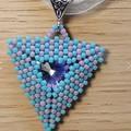 Triangle Beaded Rivoli Swarovski Pendant Necklace