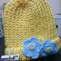 BEANIE - Child's  Loom Knitted Yellow Beanie with Crochet Flowers