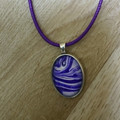 MARBLED OVAL PENDANT - Marbling under a Glass Cabachon
