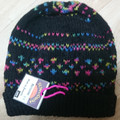 BEANIE - Adult Hand Knitted Black with Multi-coloured Decoration