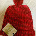 BEANIE - Child's Pure Wool Loom Knitted Red Beanie with Pom Pom