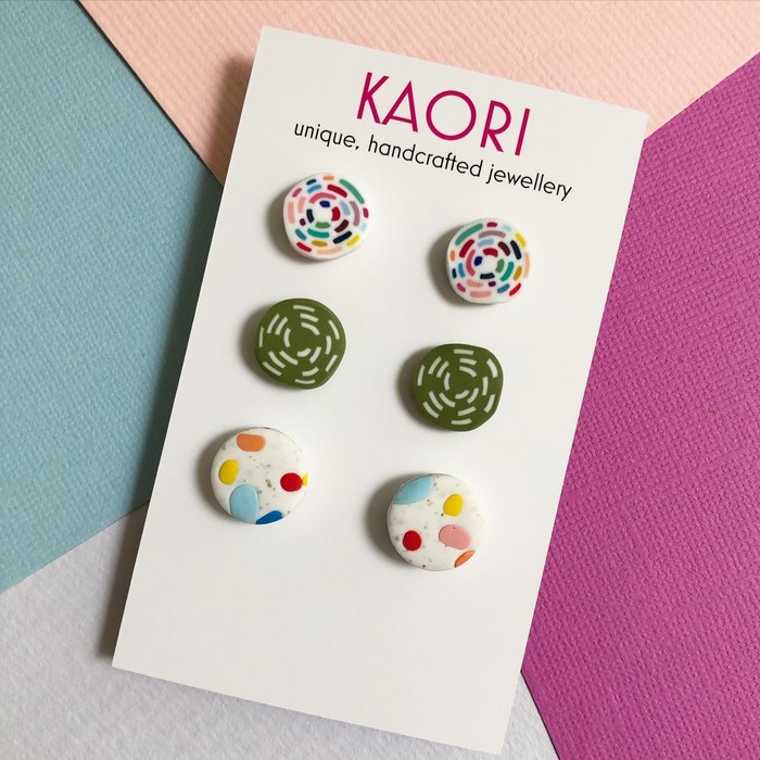 3 Pack Of Polymer Clay Stud Earrings