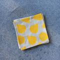 Four abstract mustard coaster | linen, reusable napkins, cocktail napkins
