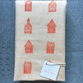 block printed linen table runner, block printed fabric, terracotta houses
