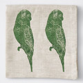 Two linen napkins | green budgerigar | block printed, fabric napkins, place mats