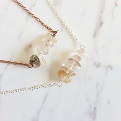 Natural Rutilated Quartz gemstone bar Necklace ( Crystal healing Stone )
