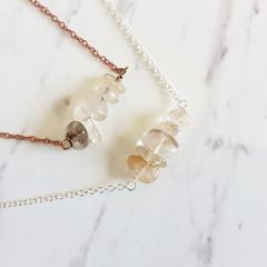 Natural Rutilated Quartz gemstone bar Necklace ( Crystal healing Stone )