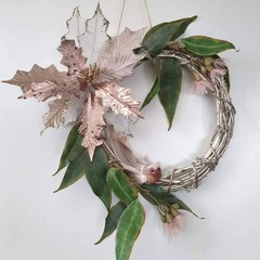 Pink Christmas Wreath (35cms) - Gum Nut & Eucalyptus - Silver Native Wreath