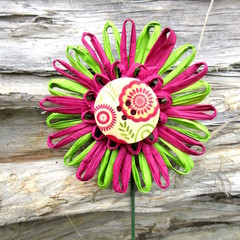 Decorative Paper Raffia Floral Wired Pick Button Decor