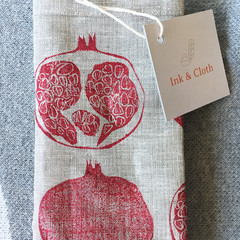 Two pomegranate linen napkins | reusable napkins, place mats, table mats