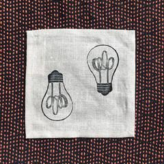 Four linen lightbulb block print coaster   reusable napkins, succulent