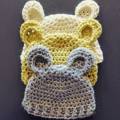 Crocheted Baby Bear Beanie - Assorted Colours & Sizes