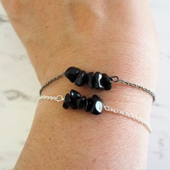 Natural Obsidian gemstone bar Bracelet ( Black Healing Stone Chakra)