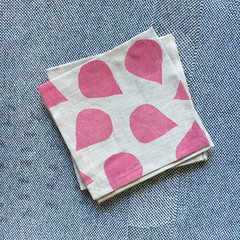 Four linen cocktail napkins | dusty rose | block printed, coaster, eco-friendly