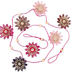 Rustic Hemp Twine Paper Raffia Flower Hanging Garland Magenta Pink Natural