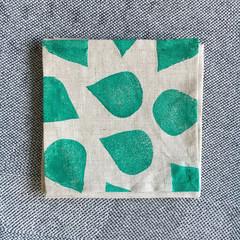 Four linen cocktail napkins   block printed, coaster, eco-friendly