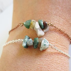 Natural Indian Agate gemstone bar Bracelet ( Green Brown White Healing Stone )