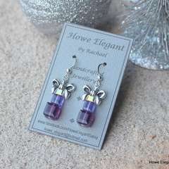 Swarovski Crystal Presents, Purple, Sterling Silver, earring