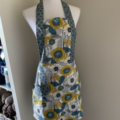 Blue and Green flower low waisted Retro vintage style apron Free Postage