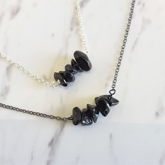 Natural Obsidian gemstone bar Necklace ( Black Healing Stone Chakra)