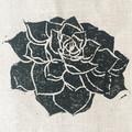 cactus print, block printed fabric table runner, succulents