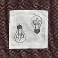 Four linen lightbulb block print coaster | reusable napkins, succulent