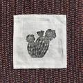 Four linen cactus print coaster | reusable napkins, succulent