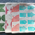 Unlined block printed zipper pouch | cosmetic bag, makeup bag, zipper pouch.