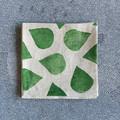 Four abstract green coaster | linen, reusable napkins, cocktail