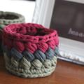 Crochet basket, fairtrade - tri-colour - two variations