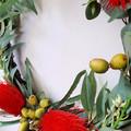 Artificial Red Banksia  & Eucalyptus Native Flower Wreath (35 cms wide)