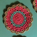Six Red, Green and Gold Hand Crocheted Coasters