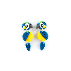 Blue and Gold Macaw Earrings - Polymer Clay Statement Parrot Earrings
